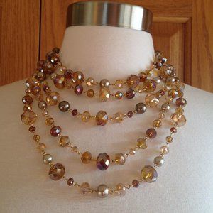 CAROLEE - Multi-Strand Crystal Necklace - EUC